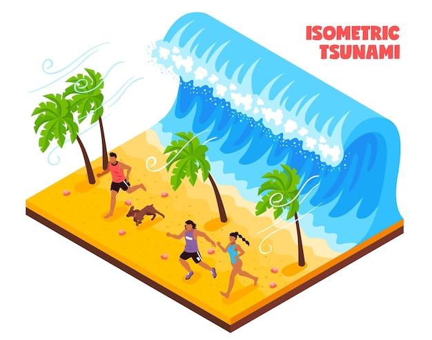 Disastro naturale nel sud del paese isometrico con persone e animali che corrono dall'onda dello tsunami Vettore gratuito