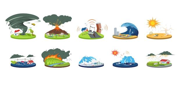 自然災害漫画イラストセット。異常気象。大惨事、大変動。洪水、雪崩、ハリケーン。地震、津波。白で隔離されるフラットカラーの災難 Premiumベクター