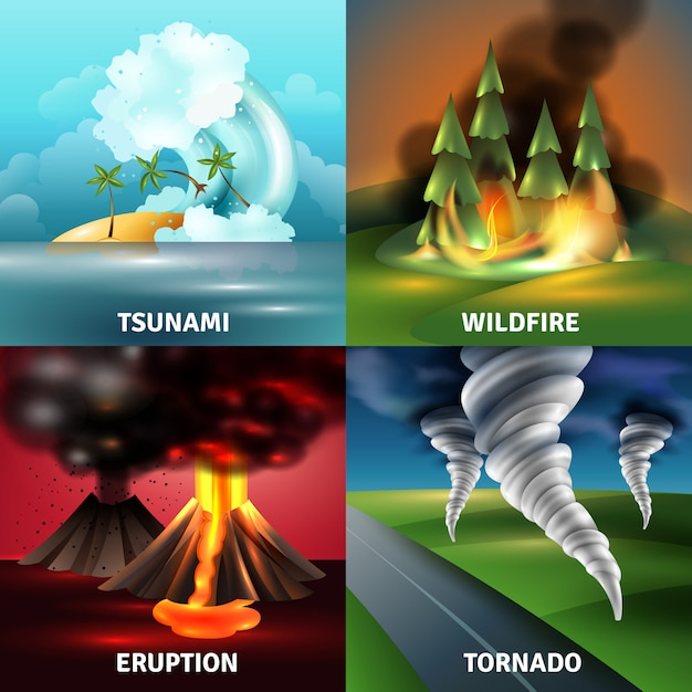 Natural disasters design concept Free Vector