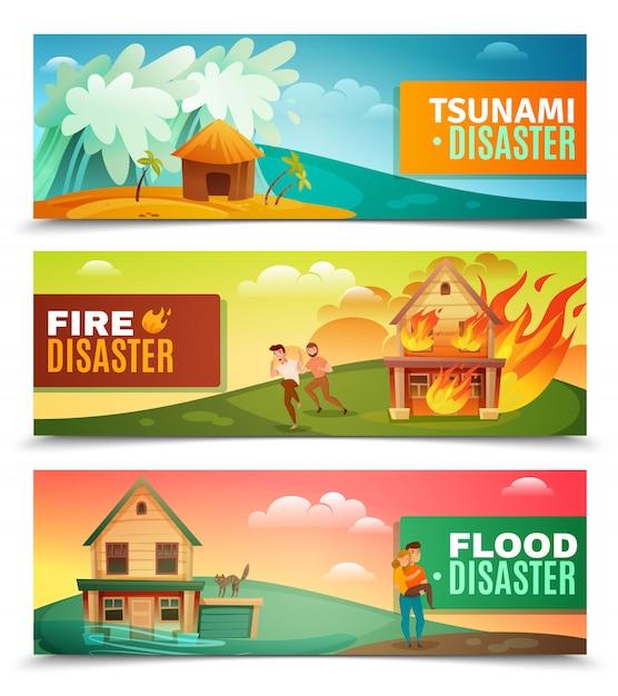 Natural disasters horizontal banner set Free Vector