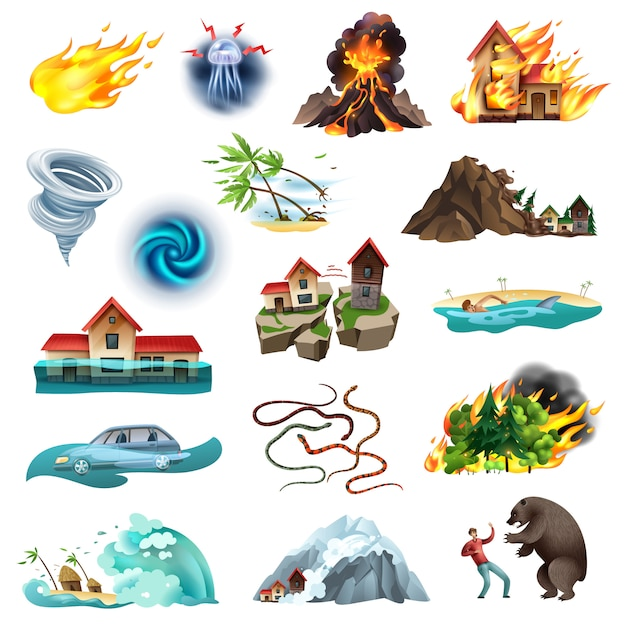 竜巻の森林火災洪水有毒ヘビと自然災害生命を脅かす状況カラフルなアイコンコレクション 無料ベクター