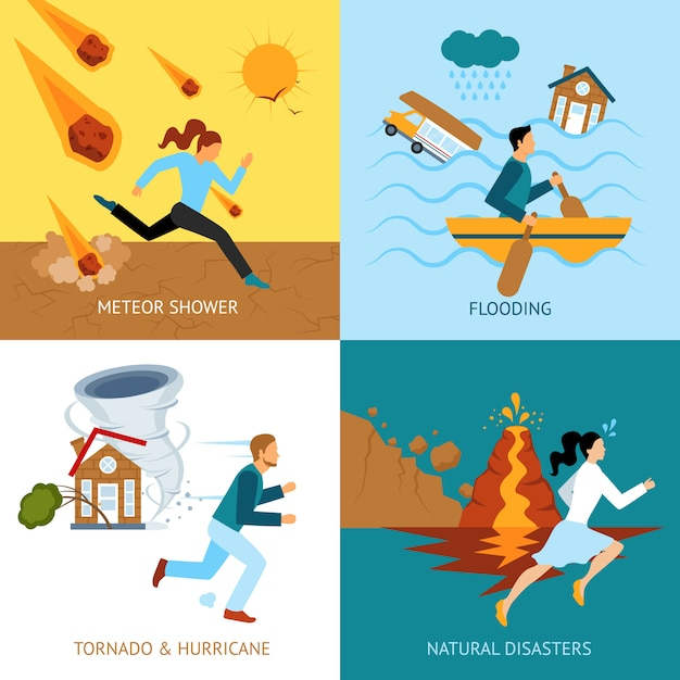 Natural disasters safety concept Free Vector