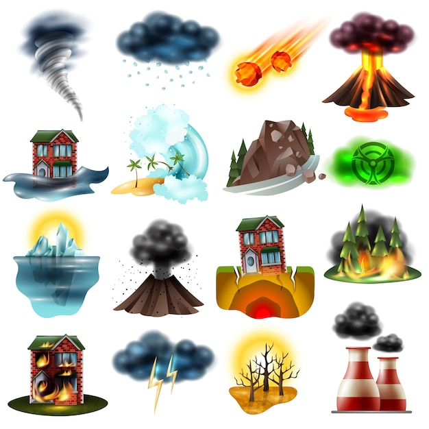 Natural disasters set Free Vector