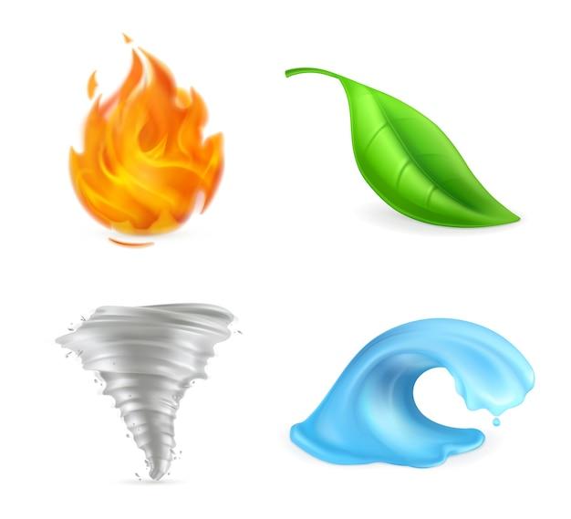 自然の要素、火、炎、緑の葉、竜巻、ハリケーン、嵐、波、環境、ベクトル図 Premiumベクター