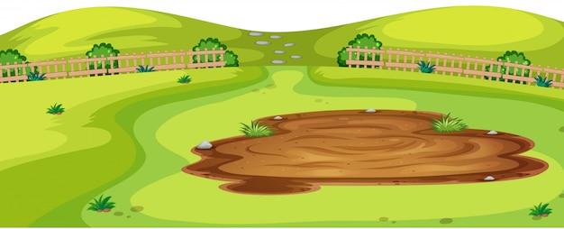 Иллюстрация сцены ландшафта природной среды Бесплатные векторы