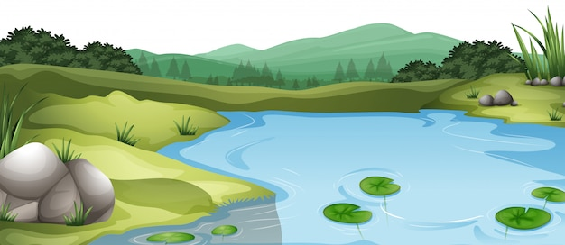 Natural environment lanscape scene Free Vector