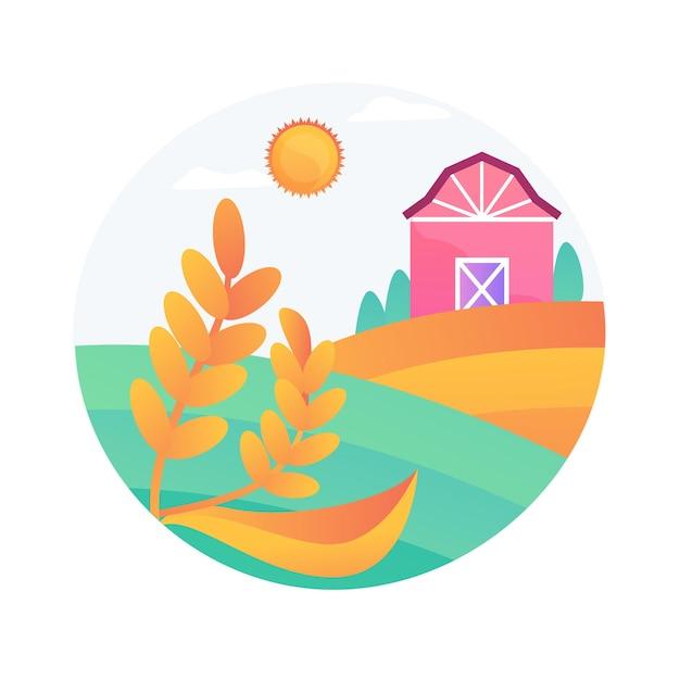 Иллюстрация вектора абстрактной концепции естественного земледелия. экологический подход к сельскому хозяйству, плодородие, органическое и устойчивое сельское хозяйство, местное естественное биоразнообразие, абстрактная метафора агропромышленности. Бесплатные векторы