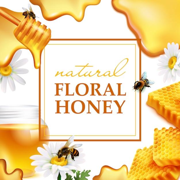 Natural floral honey colorful frame Free Vector