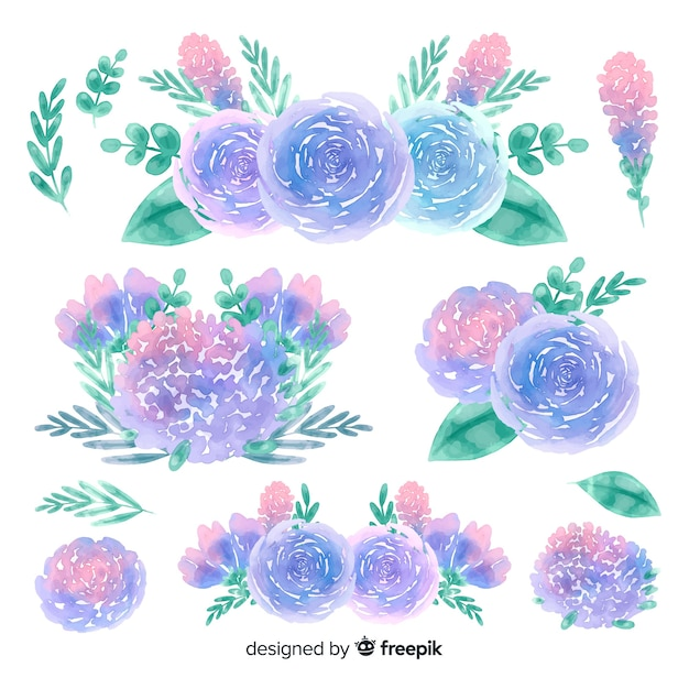Natural flowers bouquet watercolor background Free Vector