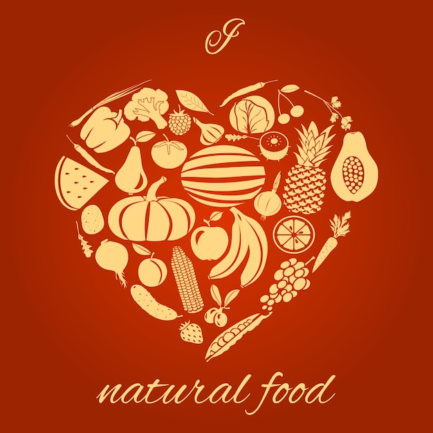 Natural food heart Free Vector
