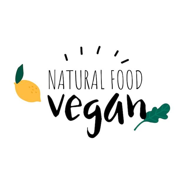 Natural food vegan logo vector Free Vector