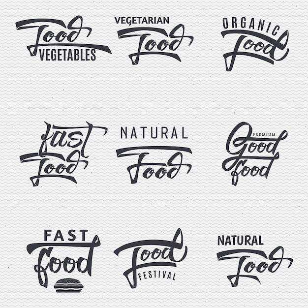 Natural foods, organic food, food festival, good food - insignia is made with the help of lettering and calligraphy skills, use the right typography and composition. Premium Vector