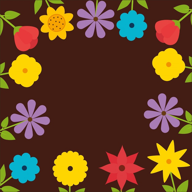 Natural frame with colorful flowers Free Vector