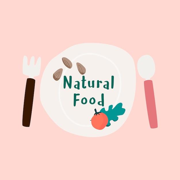 Natural fresh food badge vector Free Vector