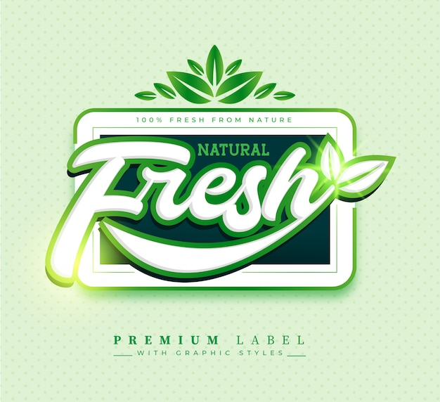 Natural fresh label sticker badge Free Vector
