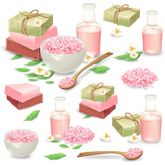 Natural handmade cosmetics for spa vector set Free Vector