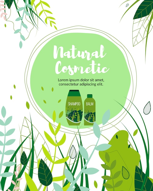 Natural herbal cosmetic organic products business. Premium Vector