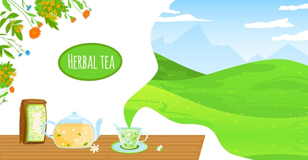 Природный травяной чай векторные иллюстрации. мультяшный плоский стеклянный чайник, пакет и чашка, цветы ромашки, травы, листья, здоровый горячий напиток Premium векторы