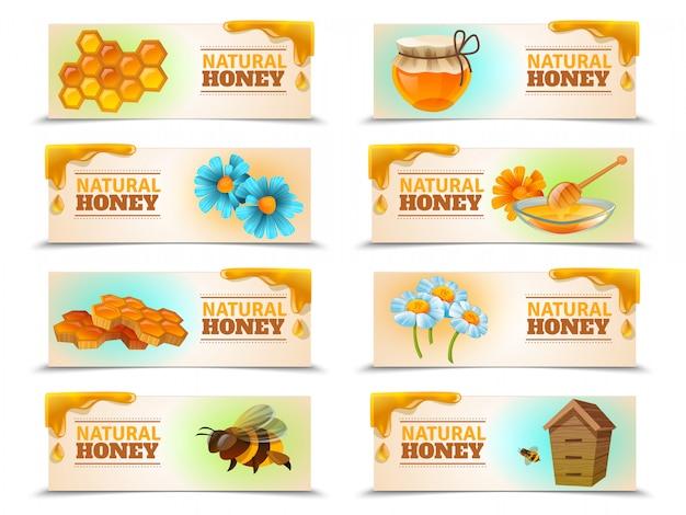 Natural honey horizontal banner set Free Vector