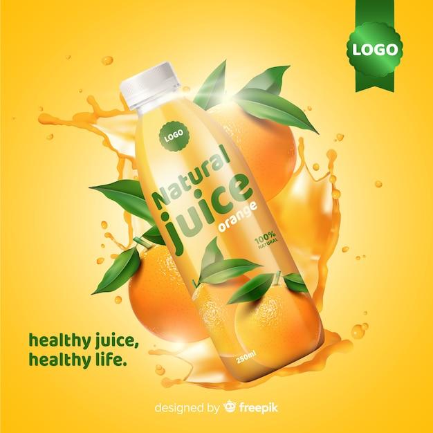Natural juice ad Free Vector