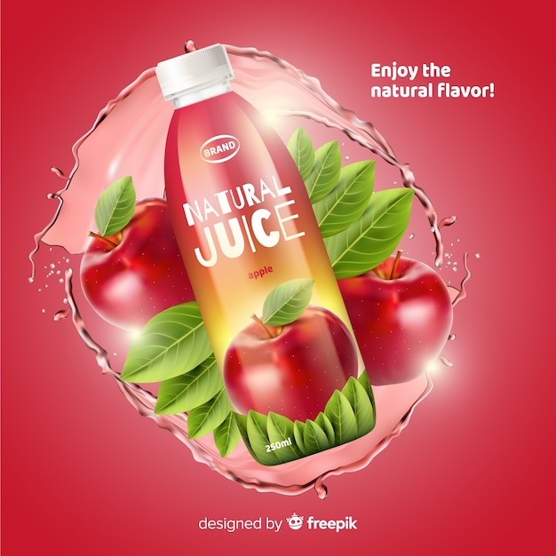Natural juice ad Free Vector