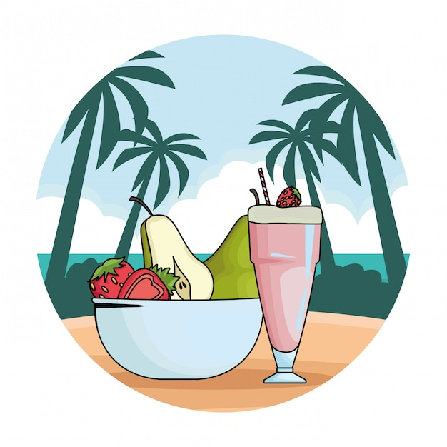 Natural juice cup and fruits in bowl Free Vector
