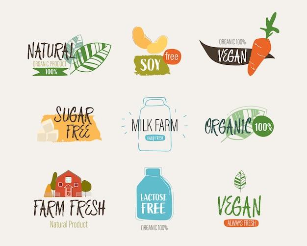 Натуральные этикетки и свежие органические баннер сельское хозяйство. Premium векторы