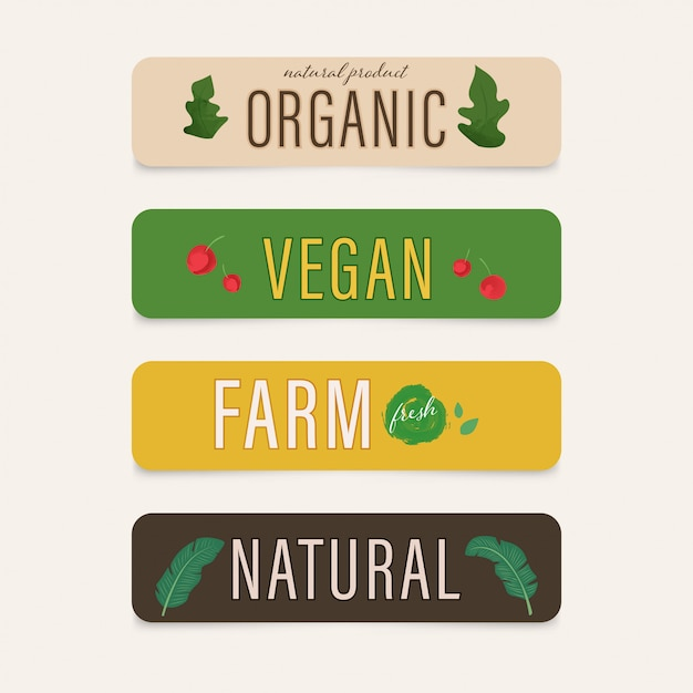 Natural label and farm organic wood texture. leaf symbol paint design. vegan farm fresh Premium Vector