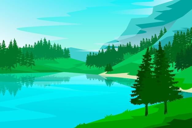 自然の風景の背景のコンセプト 無料ベクター