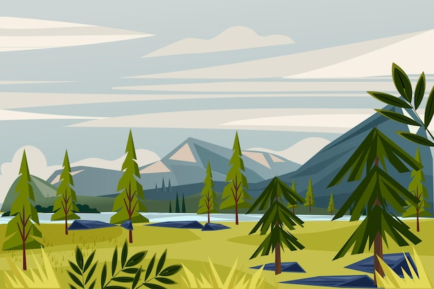 自然の風景-ビデオ会議の背景 無料ベクター