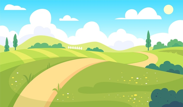Natural landscape - background for video conferencing Premium Vector