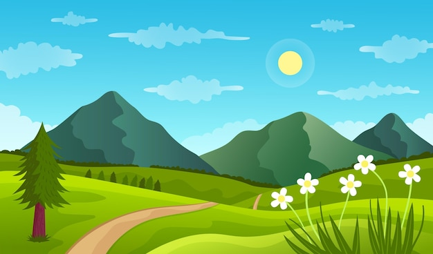 Natural landscape - background for video conferencing Free Vector