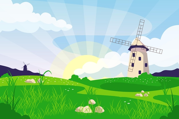 Natural landscape - background for video conferencing Free Vector