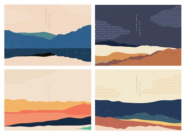 일본 패턴으로 자연 풍경 배경입니다. 기하학적 요소와 산 숲 템플릿입니다. 추상 예술 벽지. 프리미엄 벡터