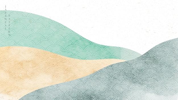 일본식 패턴으로 자연 풍경 배경입니다. 수채화 텍스처와 산 숲 템플릿입니다. 프리미엄 벡터