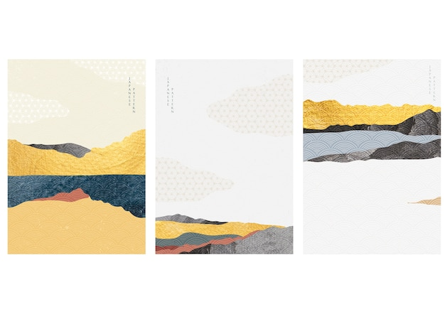 Natural landscape background with japanese wave pattern  . mountain forest template with gold texture. Premium Vector