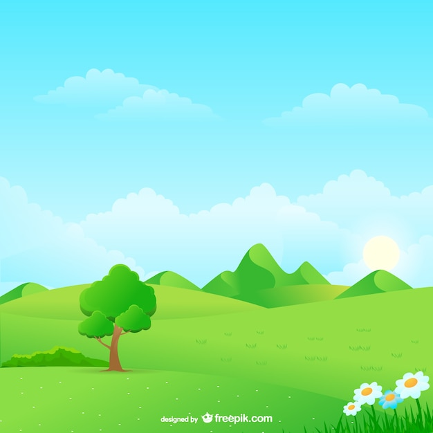 Natural landscape cartoon