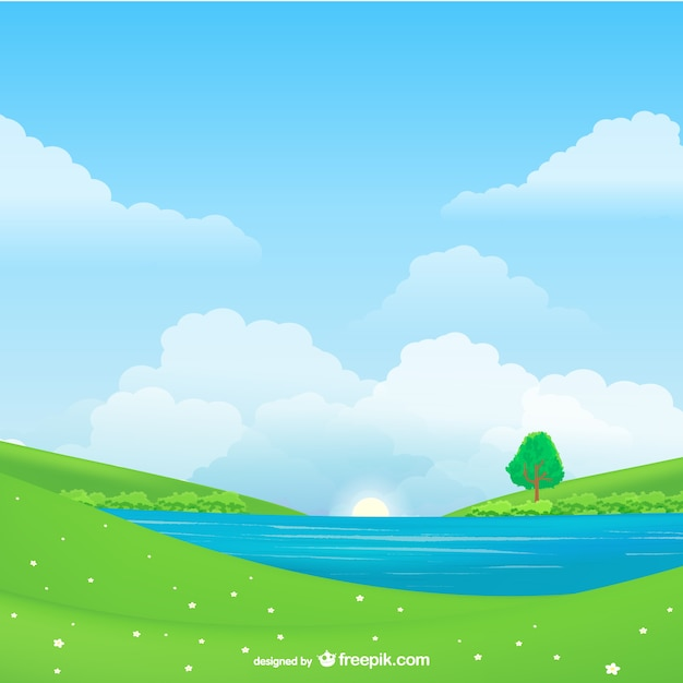 Natural landscape vector Free Vector