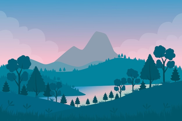 Natural landscape wallpaper for video conferencing Free Vector