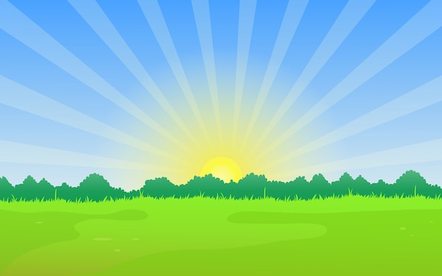 Natural landscape with meadow and summer sunrise. Premium Vector
