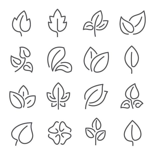 Natural leaf line icons. leaves of plants eco green fertilizer outline pictograms Premium Vector