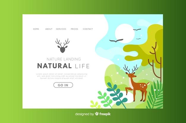 Natural life environment landing page Free Vector