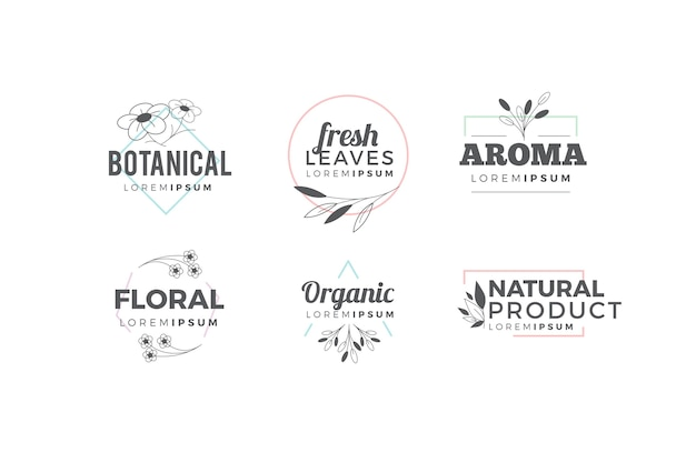 Natural logo pack in minimal style Free Vector