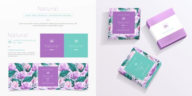 Natural logo and packaging template. Premium Vector