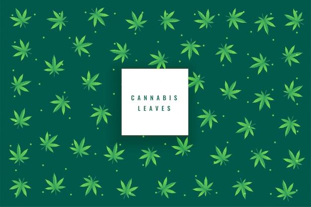Natural marijuana cannabis leaves pattern background Free Vector