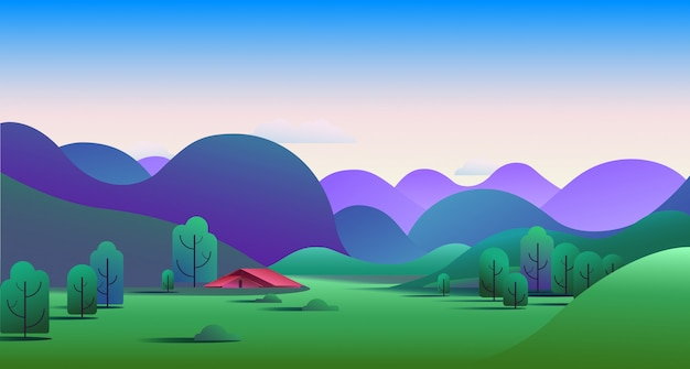 Natural morning landscape with hills and camping tent on meadow - vector illustration. Free Vector