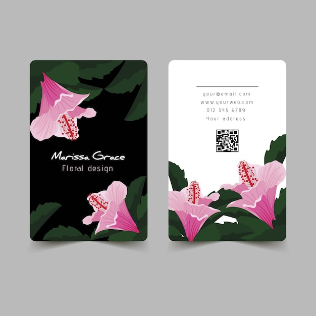 Natural motifs for business card design Free Vector