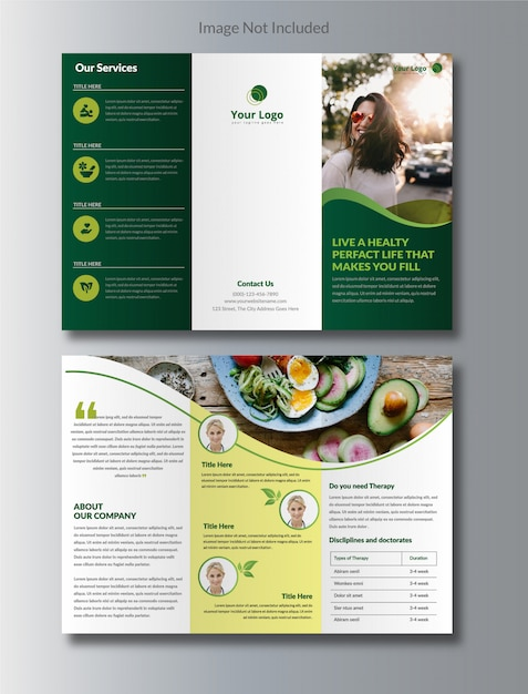 Natural nutrition tri-fold brochure Premium Vector