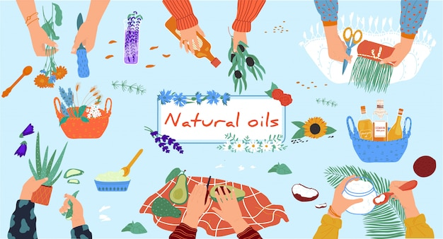 Мастерская натуральных масел, органическая косметика ручной работы из экологически чистых ингредиентов, руки людей, иллюстрация Premium векторы