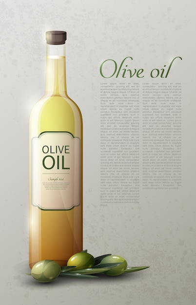 Natural olive oil realistic template with text glass bottle and green ripe olives Free Vector